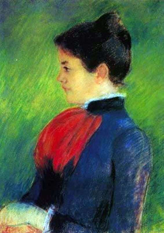 一件蓝色女衬衫的妇女有一条红色领带的   玛丽Cassat