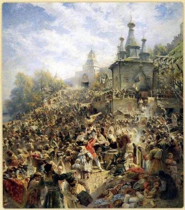 下诺夫哥罗德广场的Minin,敦促人们捐款   Vladimir Makovsky