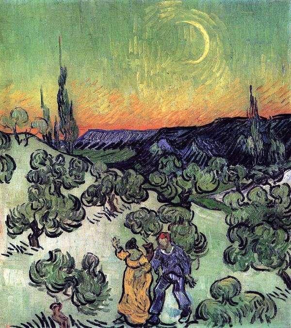 景观与漫步的夫妇和月亮的新月   文森特梵高