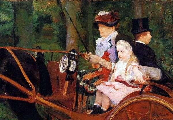 母亲和孩子在马车   玛丽卡萨特