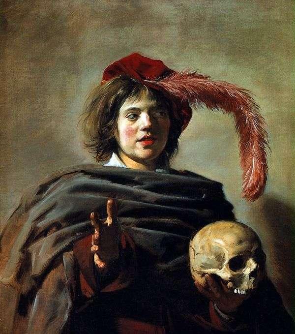 一个年轻人的画象有头骨的(Vanitas)   Frans Hals