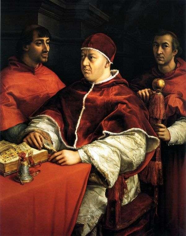 Leo X与红衣主教Giuliano Medici和Luigi Rossi的画像   Rafael Santi