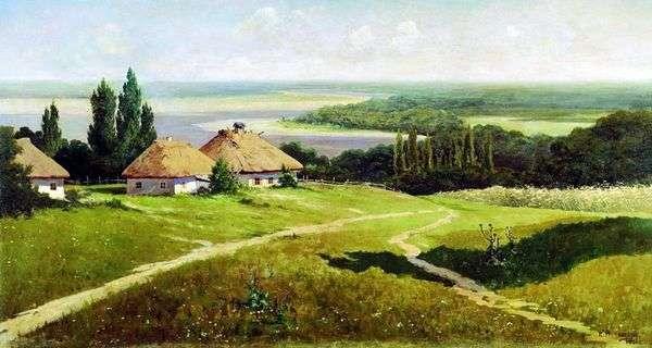 与小屋的乌克兰风景   弗拉基米尔Makovsky