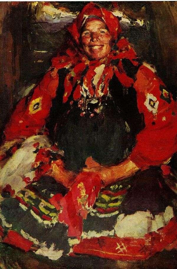 一条绿色围裙的农民妇女   亚伯拉罕Arkhipov