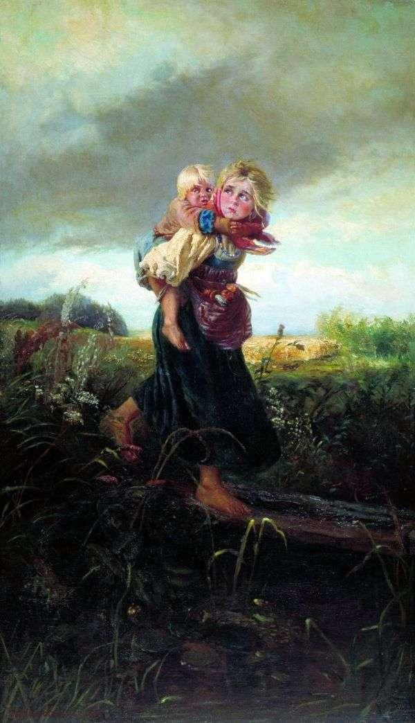 孩子们从雷雨中奔跑   康斯坦丁马可夫斯基