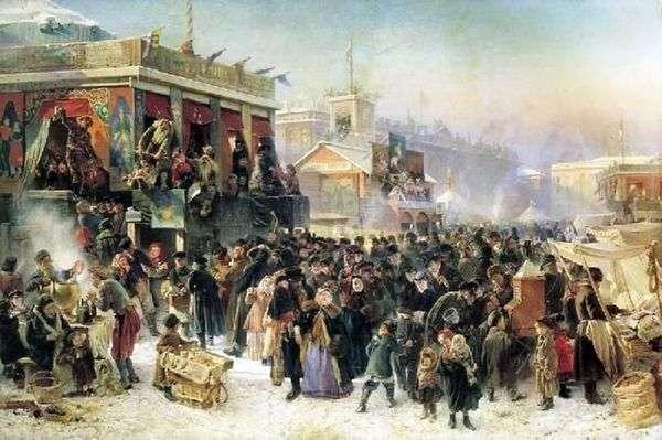 在圣彼得堡Admiralteyskaya广场的Maslenitsa庆祝活动   Konstantin Egorovich Makovsky
