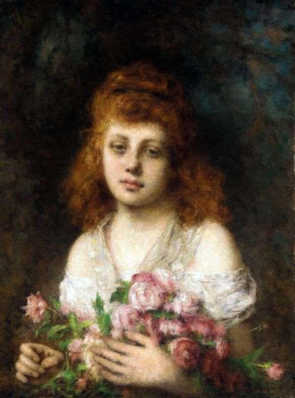 有一束玫瑰的红发女孩   Alexey Kharlamov