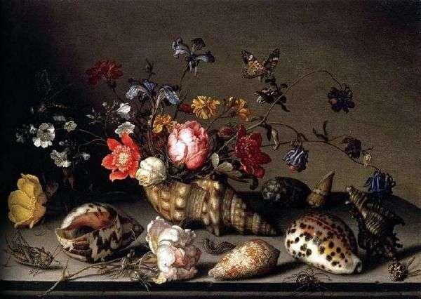静物:花,贝壳和昆虫   Balthazar van der Ast