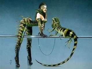 Lizardmen世界的双胞胎   Chris Achilleos