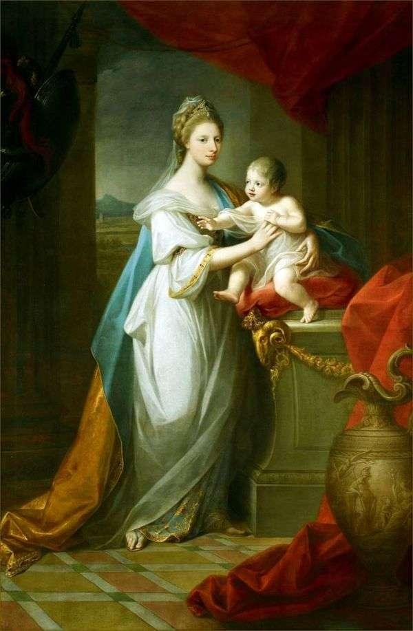 汉诺威的威尔士公主奥古斯都与她的儿子   Angelika Kaufman