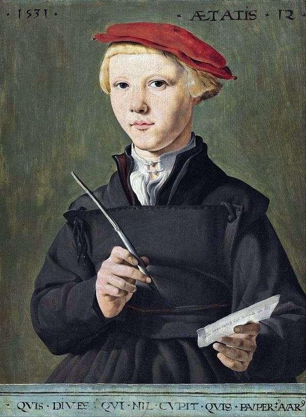男小学生的画象   马丁van Hemskerk