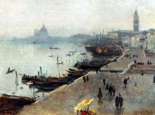 威尼斯看法在一阴暗天   约翰Sargent