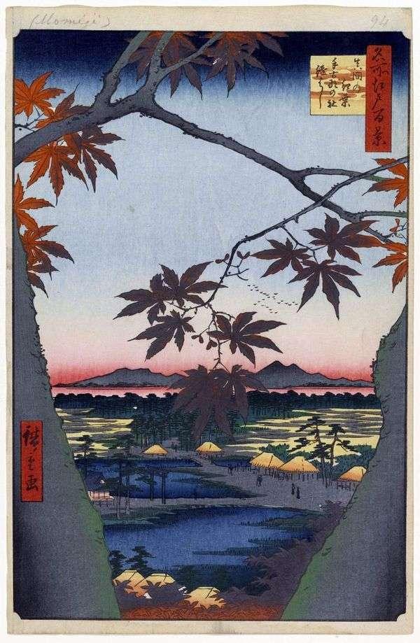 在Takona no Yashiro Shrine和Tsugihashi Utagawa Hiroshige Bridge的妈妈的血色枫树
