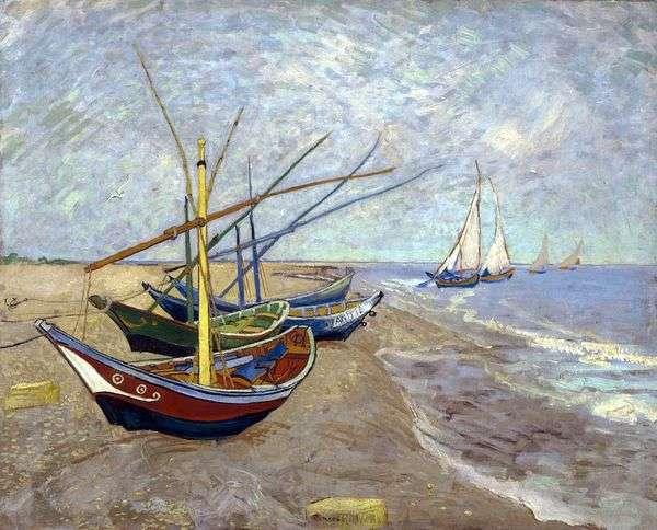 在海滩的渔船从Sainte Marie   文森特凡高