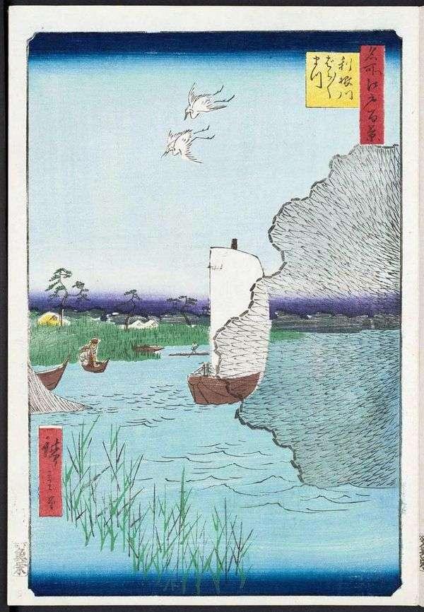 Tonegawa Coast的Barabara Matsu   Utagawa Hiroshige