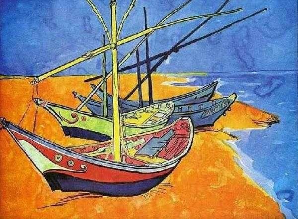 在海滩的渔船从Sainte Marie(水彩)   文森特凡高
