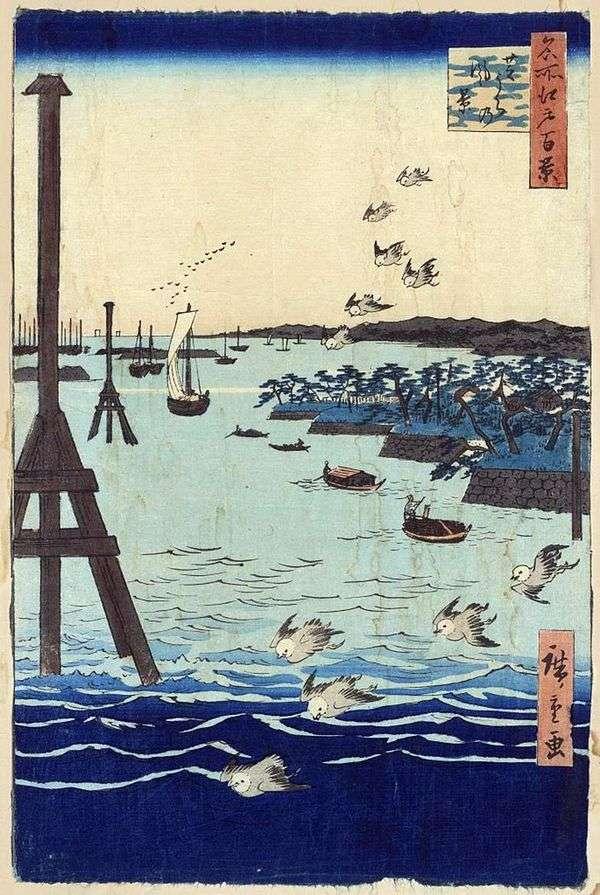 在Sibaura的小海湾。绘画,图形,日本图案,风景   Utagawa Hiroshige