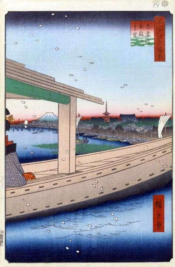Kinryuzan修道院和Azumabasi桥梁的看法   Utagawa Hiroshige