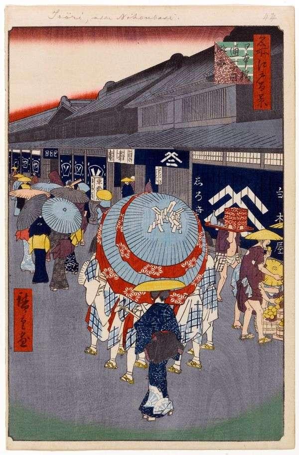 日本桥第一街的视图   Utagawa Hiroshige