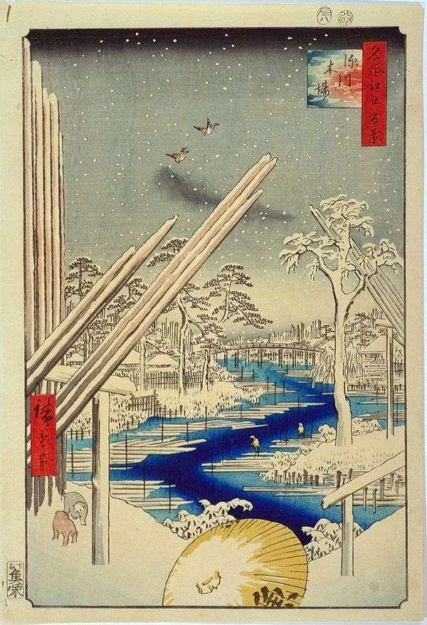 Fukagawa的木制仓库   Utagawa Hiroshige