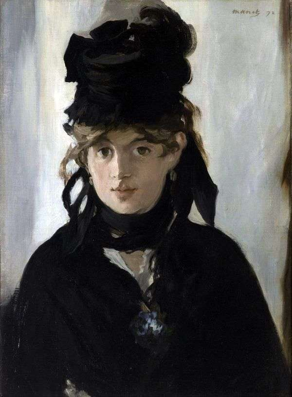 Bertha Morisot带着一束紫罗兰   Edouard Manet