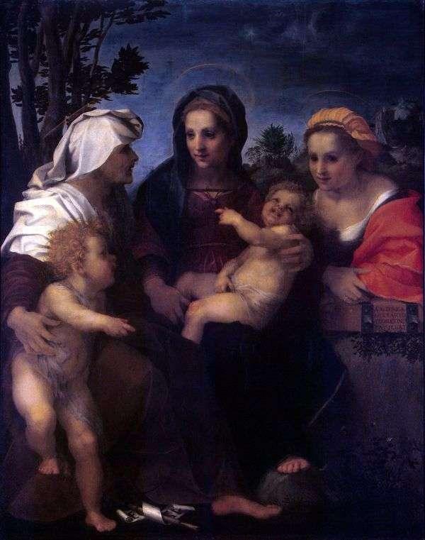 麦当娜和儿童,圣徒凯瑟琳,伊丽莎白和施洗约翰   安德里亚德尔萨托