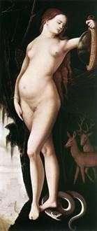 谨慎(带镜子和蛇的女人)   Hans Baldung