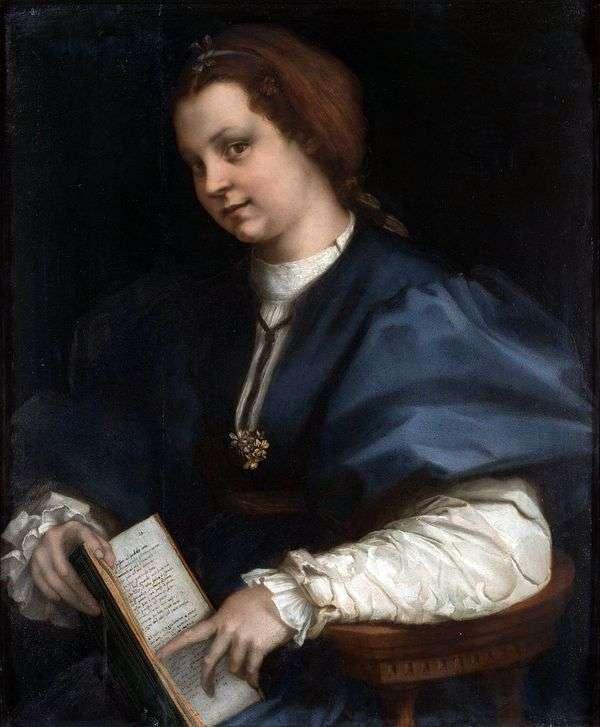 一个女孩的画象有诗书的由Petrarch   安德里亚del Sarto