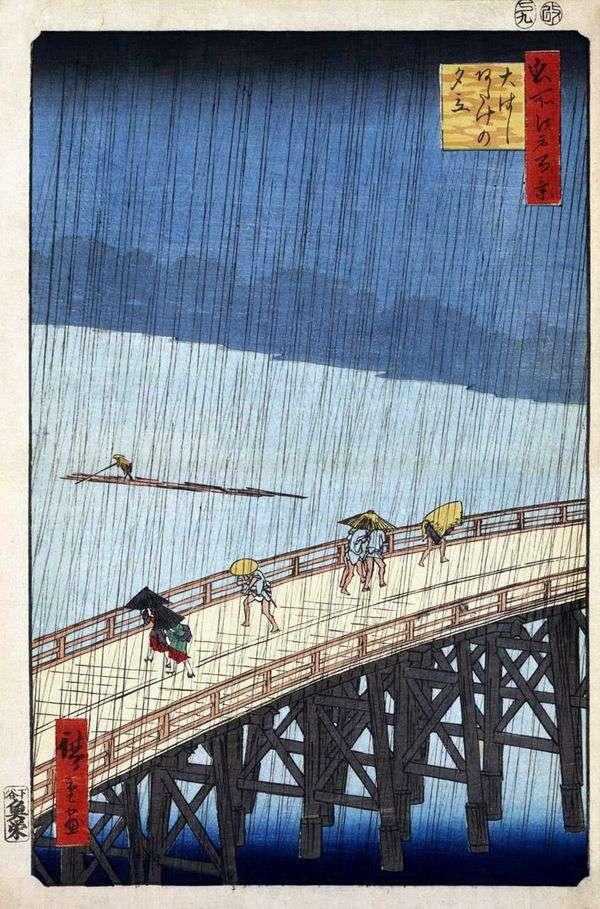 Atake地区Ohashi桥上的暴雨