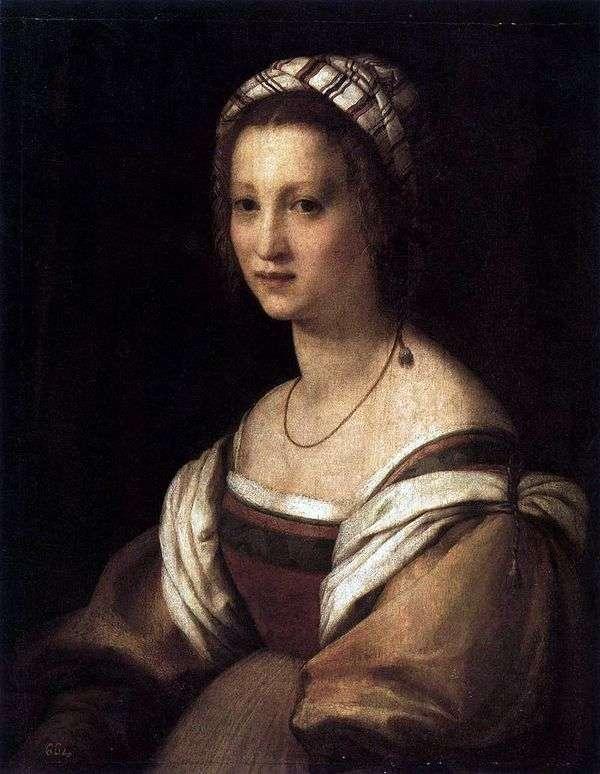 艺术家的妻子的肖像。   Andrea del Sarto