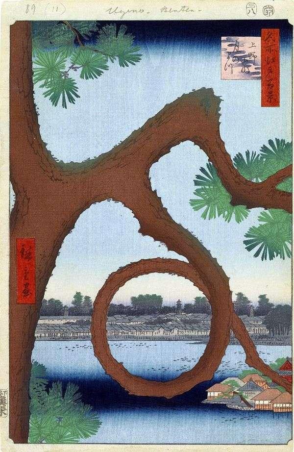 在上野的修道院的领土上的月光松   Utagawa Hiroshige