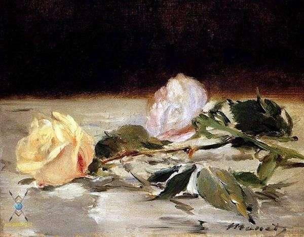 床罩上的两朵玫瑰   爱德华马奈