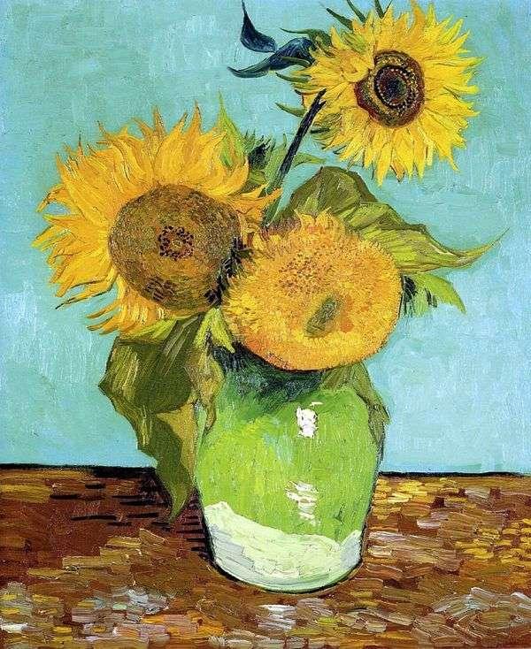 在花瓶的三个向日葵   文森特梵高