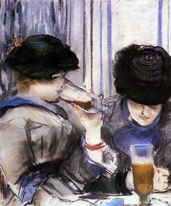 女人喝啤酒   爱德华马奈
