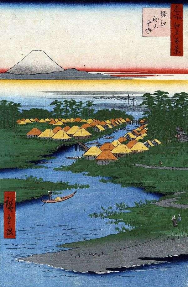 堀江和Nekozane   Utagawa Hiroshige