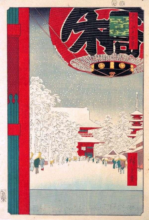 浅草的Kinryuzan修道院   Utagawa Hiroshige