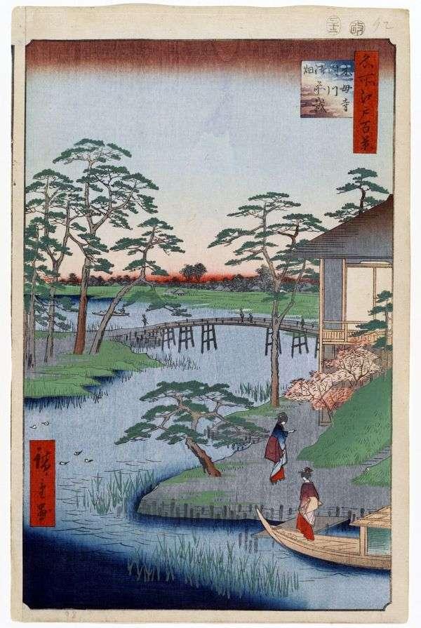 Mokubodzi修道院,Utigawa河和Godzaihata Fields   Utagawa Hiroshige