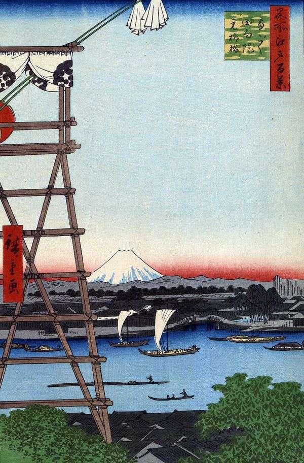 Regoku和Moto Yanagibasi Bridge的Ecoin修道院   Utagawa Hiroshige