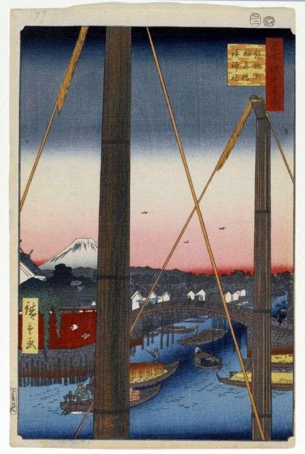 Teppozu的Inari bashi桥,Minato Jinja Sanctuary   Utagawa Hiroshige