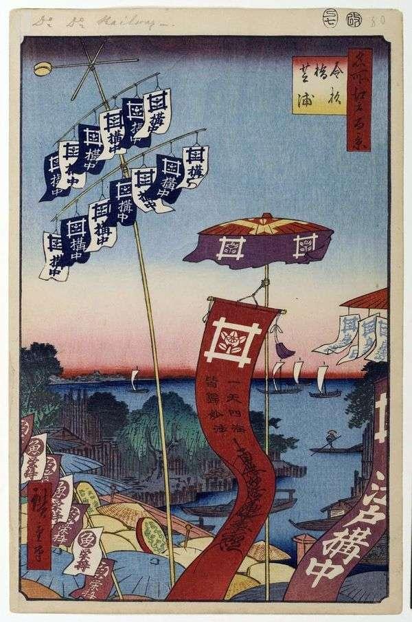 在Sibaura的Kanasugibasi桥梁   Utagawa Hiroshige