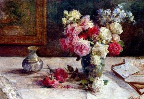 花瓶里的玫瑰和桌子上的几本书   Licinio Barzanti