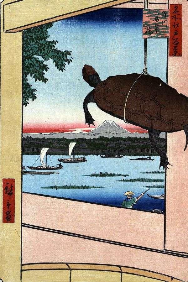 在深川的Mannambashi桥   Utagawa Hiroshige