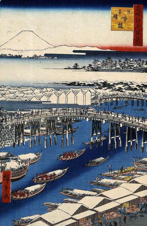在降雪后的晴朗的天气的日本桥桥   Utagawa Hiroshige