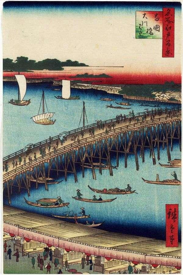 Regokubashi Bridge和Okavabata Embankment   Utagawa Hiroshige