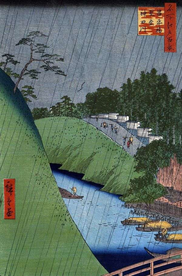 Seheibashi桥,孔庙和Kandagawa河   Utagawa Hiroshige