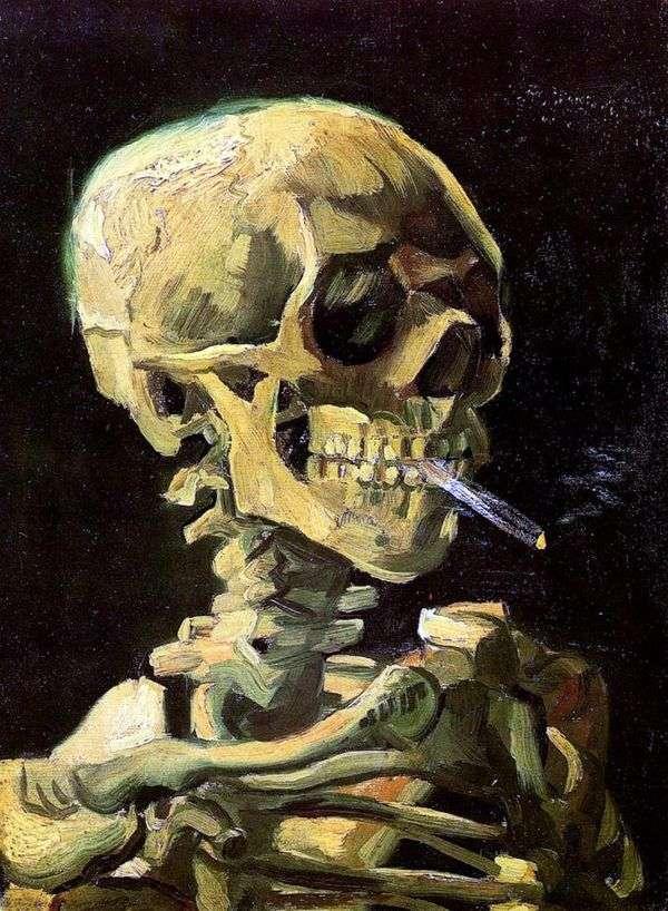 头骨用燃烧的香烟   文森特梵高