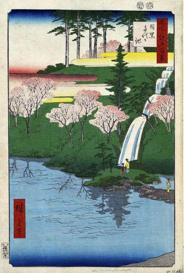 Meguro,Tiegeake Pond   Utagawa Hiroshige