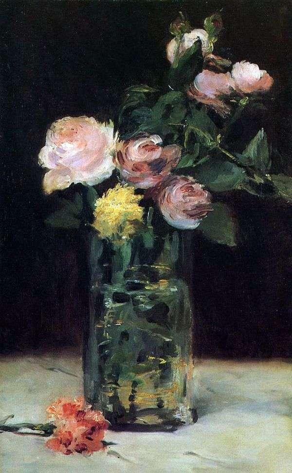 水晶花瓶中的玫瑰   爱德华马奈