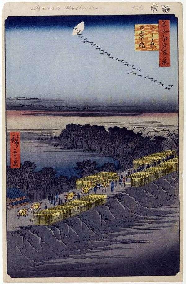 Nihondzumumi Embankment,Esivara Quarter   Utagawa Hiroshige