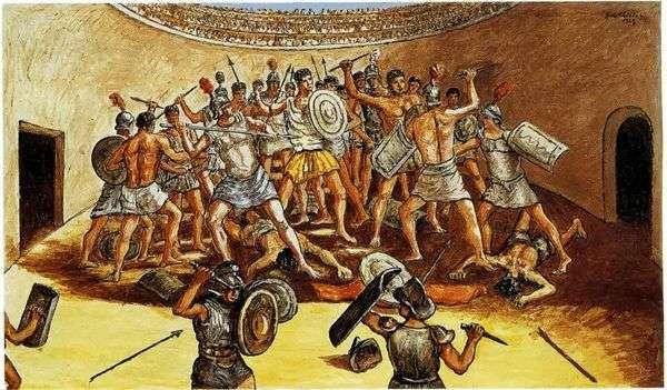 竞技场中的角斗士之战   Giorgio de Chirico